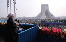 Addressing demonstrators celebrating 38th anniversary of the victory of the Islamic revolution