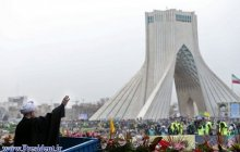President in a large groups of Bahman 22 rallies